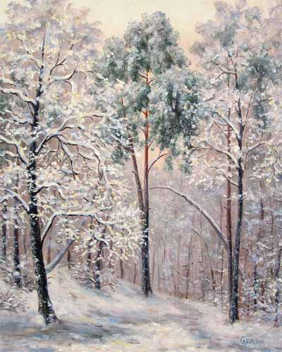 Winter in the forest. Painting. Artist - Natalia Gavrilova